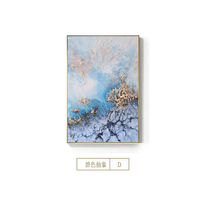 Abstract Flowing Golden Blue Canvas Painting Luxurious Posters Prints Art Wall Pictures for Living Room Decor Tableau Decoration