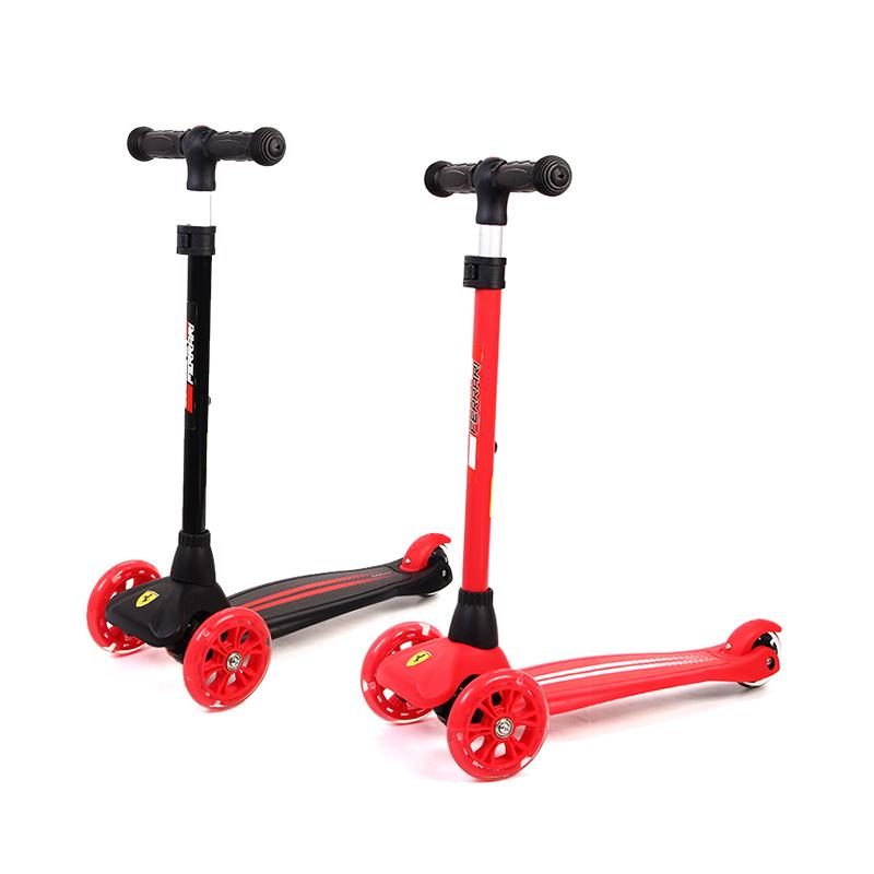3 Wheels Children Scooters Foldable Kickboard Exercise Toys Flashing Wheel Safety Foot-Scooters Roller Skateboard For 3-10years - EM