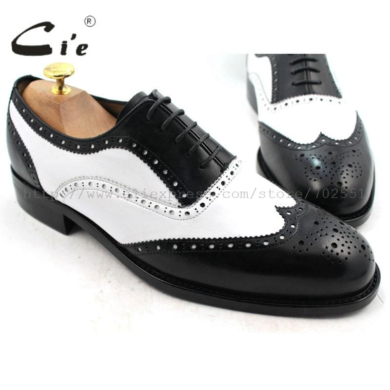 cie Round Toe Full Brogues White&Black Lace-Up Custom Handmade Genuine Calf Leather Outsole Breathable Men's Oxford ShoeNo.OX218