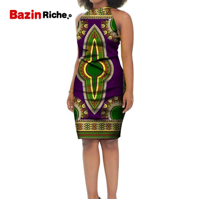 Africa Style Fashion Women Dress Ankara Feminino Vestidos Sleeveless African Knee-Length Dresses custom Women Party Wear WY5224 - EM