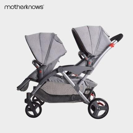 Motherknows original double seat twins baby stroller,kinderwagen 2 in 1 baby cart, pushchair/pram