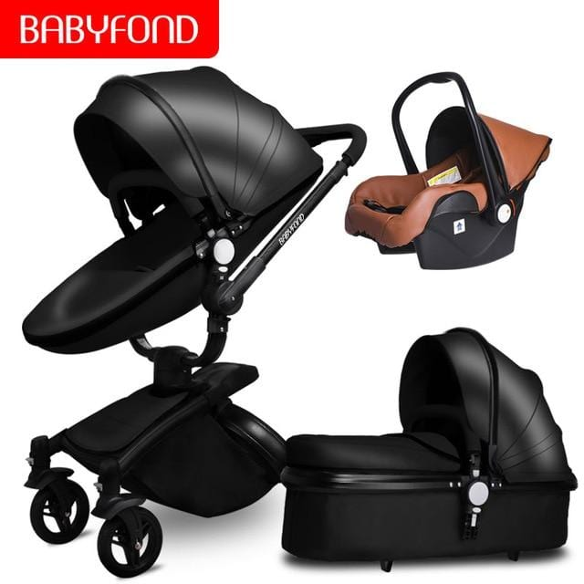 Fast ship! 3 in 1 Golden frame baby stroller folding two-way push luxury high landscape baby carriage with car seat