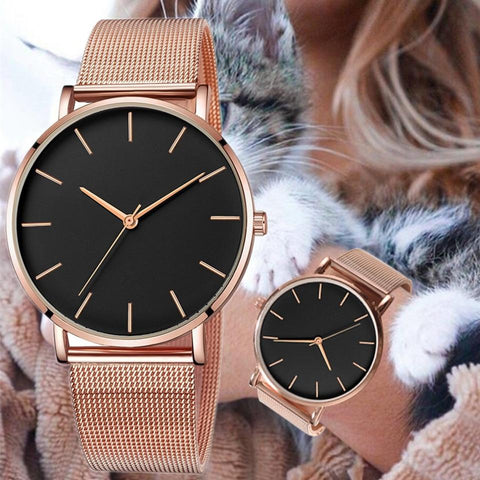 Mesh Belt ultra-thin Minimalist Sport Women watches Rose Gold Watch Montre Femme 2019 Regalos relojes para mujer Direct sales - Express Monde