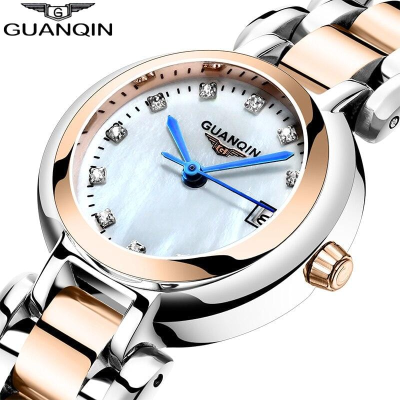 GUANQIN 2019 Women watch luxury Pearl dial waterproof dress watch Montre Femme girl ladies fashion quartz watch Relogio Feminino - Express Monde