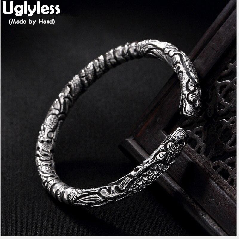 Uglyless Real S 999 Silver Fine Jewelry Unisex Cool Dragons Bangles for Men Vintage Engraved Handmade Bangle Thai Silver Bijoux