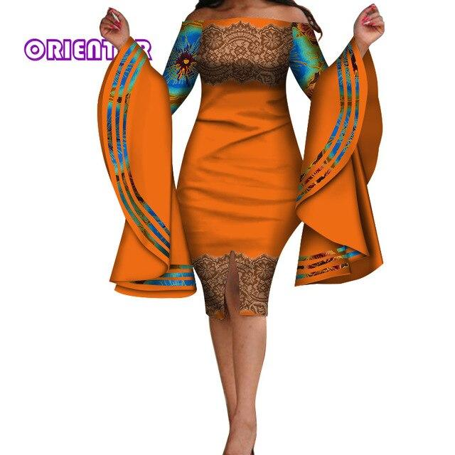 African Dress for Women Sexy Slash Neck Big Flare Sleeve Bodycon Dresses Africa Bazin Riche Lady Women Party Half-Dress WY3744 - EM