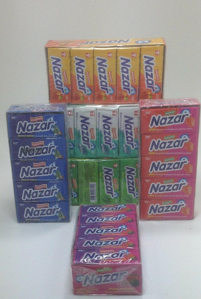 Nazar sugarless chewing gum , sugar free , 6 tastes 100 piece , delicious taste - EM