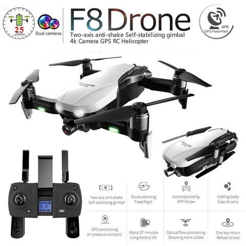 F8 GPS Profissional Drone with Camera 4K HD Two-Axis Anti-Shake Self-Stabilizing Gimbal 5G WiFi FPV RC Quadcopter Helicopter Toy - Express Monde
