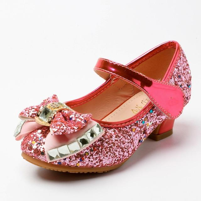 Kids Shoes for Girl Princess Fashion Sequins Rhinestone Bowtie Low Heel Leather Shoes Spring Children Girls Party Shoes  SJD007 - EM