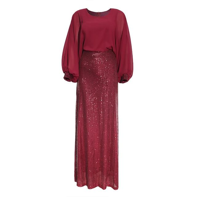 New African Sequin Red Dress Clothes Kenya South Africa Evening Party Dress Super High Quality Women Vestidos Robe Africaine - EM