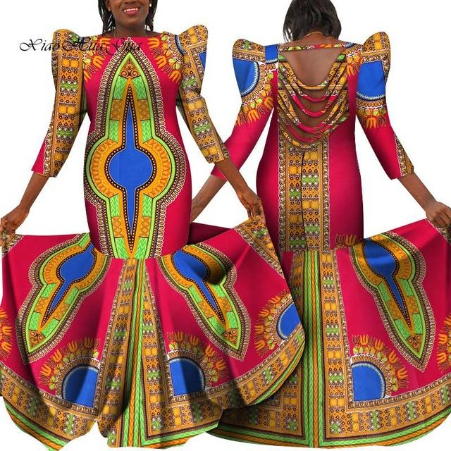 2020 New Plus Size African Dresses for Women Brand Custom Clothing Africa Wax Dashiki Slim Cut Sexy Backless Long Dress wy5977 - EM