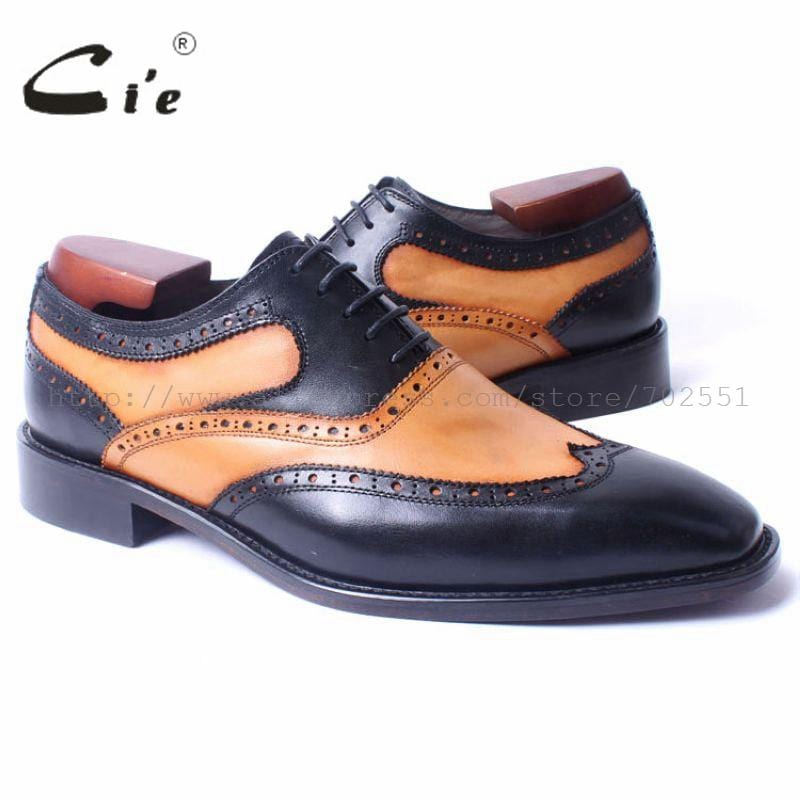 cie Square Toe Wing-Tips Brown Black Matching Lace-Up Handmade 100%Genuine Calf Leather Blake(Mackay) Craft Oxford Men Shoe OX