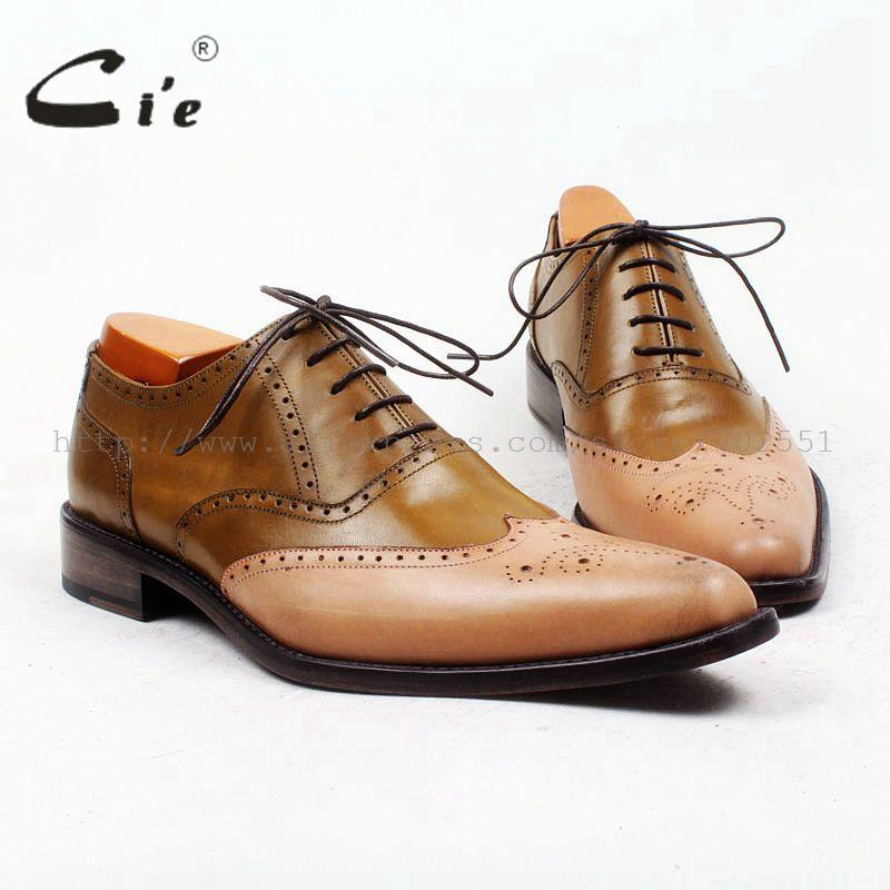 cie Pointed Full Brogues High Quality Bespoke Men Leather Shoe Custom Handmade Brown Mixed Colors Leather Breathable OX444