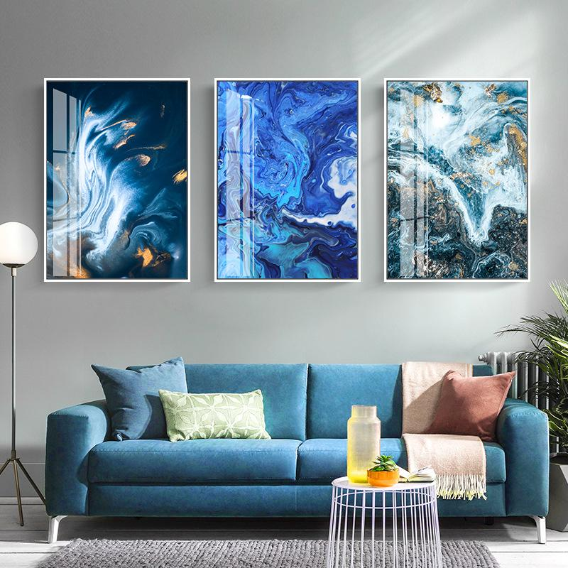 Nordic White Dark Blue Canvas Painting Abstract Wall Art Picture for Living Room Big Cuadros Tableaux Big Gold Poster and Print