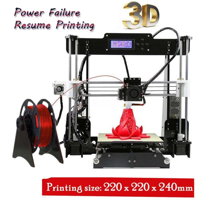 A8 W5 3D Printer Reprap Prusa i3 DIY MK8 LCD printer 3d Drucker Impressora Imprimante Resume Power Failure Printing - EM