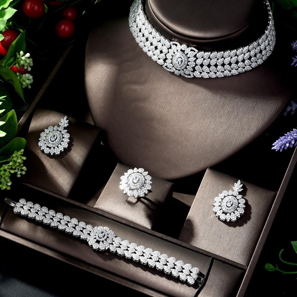 HIBRIDE Brilliant CZ Zirconia Earrings Necklace Bridal Jewelry Sets Wedding Dress Accessories for Women Party Bijoux Femme N-190