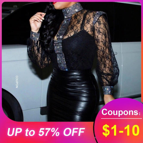 Blouse Shirts Women Slim Black Sexy Hollow Lace Tops Summer African 2020 Party Club Stand Collar Lantern Sleeve Female Blouse - Express Monde