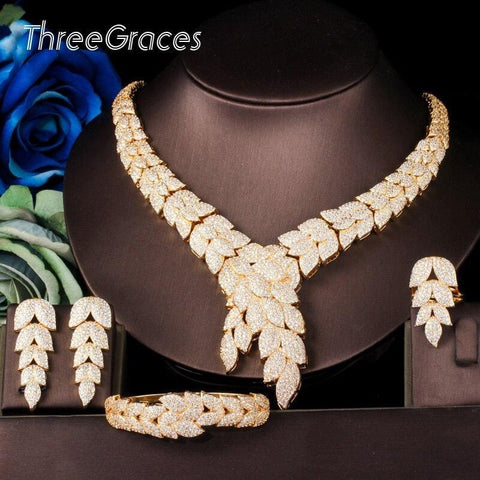 ThreeGraces Indian 585 Gold Leaf Design Cubic Zirconia African Choker Necklace Dubai 4Pcs Jewelry Sets for Women Party JS641