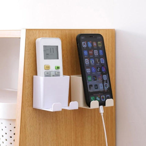 Home Practical Gadget Phone Wall Holder Wall Mounted Storage Rack Cellphone Tablet Charging Multifunction Remote Control Holder