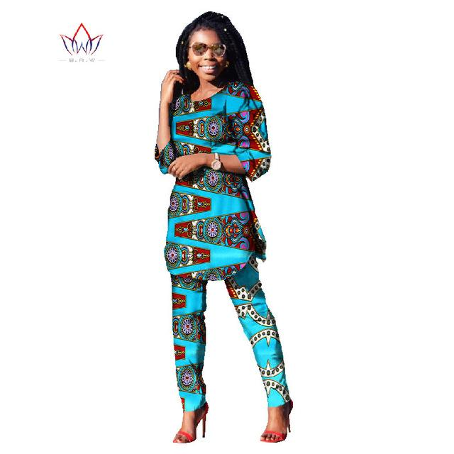 2020 Spring Two Piece Casual Set Wax Top And Pants Suits African 6xl Africa Cotton Clothing Woman Plus Size Brand Custom WY481 - EM