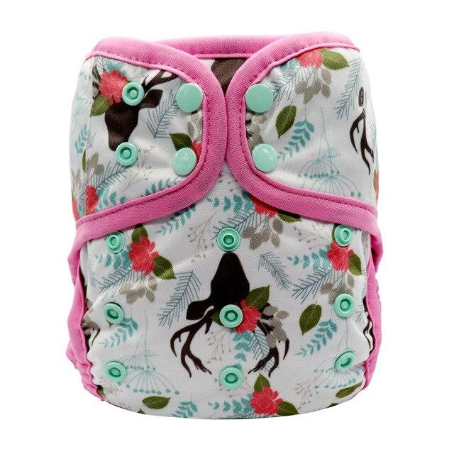 MABOJ Diaper Cover Couche Lavable Bebe OS One Size Cloth Diapers Baby Covers Newborn Nappy Waterproof Double Gusset Washable - EM