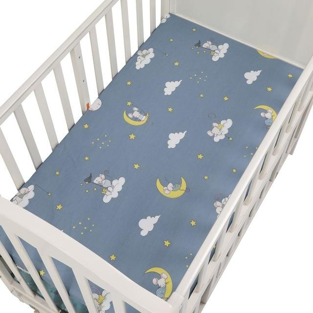100% Cotton Crib Fitted Sheet Soft Breathable Baby Bed Mattress Cover Cartoon Newborn Bedding For Cot Size 130*70cm/105*60 - Express Monde