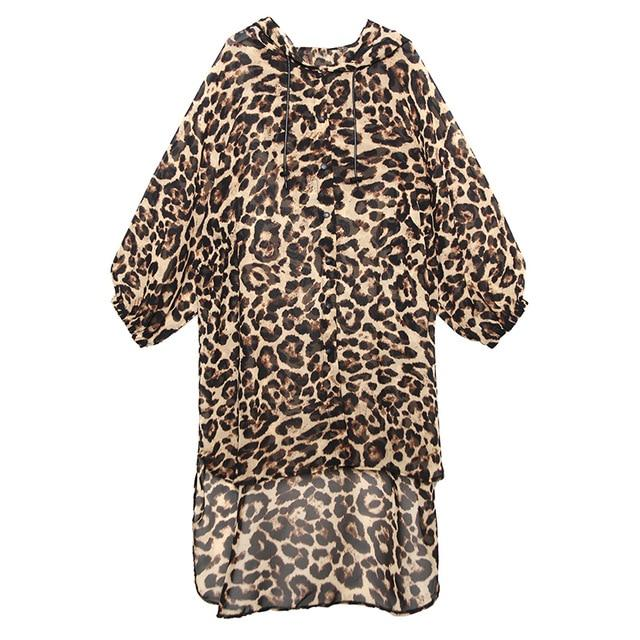 [EAM] Women Leopard Printed Chiffon Big Size Blouse New Hooded Long Sleeve Loose Fit Shirt Fashion Spring Summer 2020 1R796