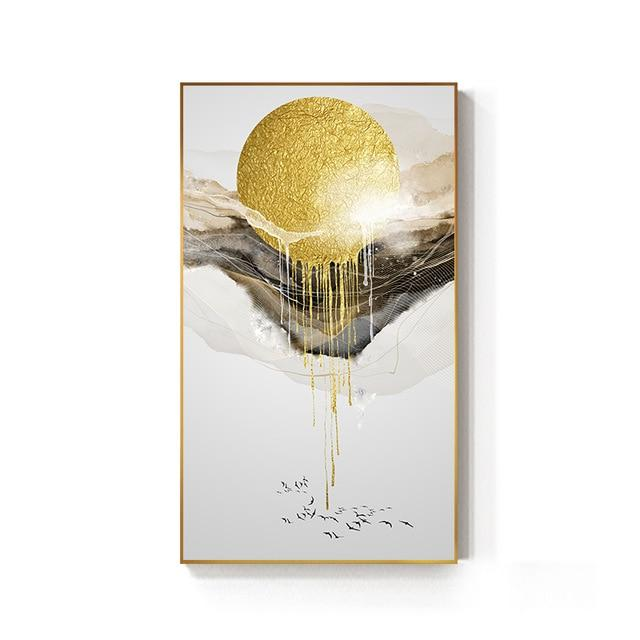 Abstract Golden Sun Canvas Painting Flowing Big Paint Posters Prints Fashion Tableaux Living Room Nordic Wall Art Decor Tableaux