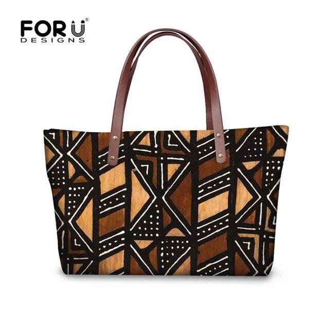 FORUDESIGNS 2019 Women African Tote Bags Vintage Printed Handbags and Wallet Afro Girl Designer Shoulder Bucket Sac a main Femme