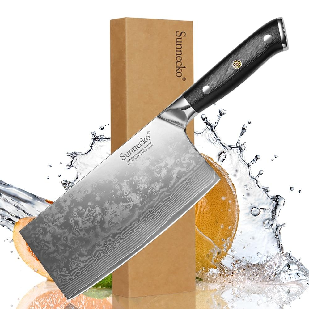 SUNNECKO 7 inch Cleaver Knife Chef Knife Kitchen Knives Japanese 73-Layer Damascus VG10 Steel Sharp 60HRC G10 Handle Cut Tools - EM