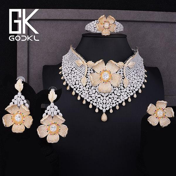 GODKI Luxury Cubic Zircon Nigerian Jewelry sets For Women wedding Indian Necklace Earrings sets Bangle Ring parure bijoux femme