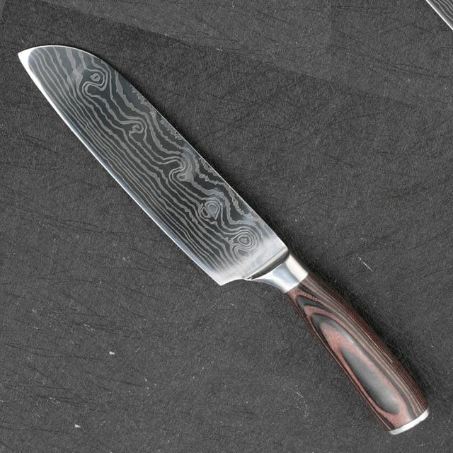 Professional 8 inch Damascus Chef Knife Japanese 7cr17 Stainless Steel Cutting Meat Knives Sharp Blade Knife Cooking Tools - EM