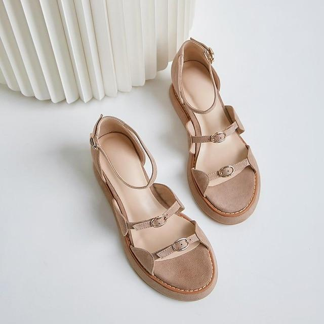 superstar kid suede buckle strap peep toe high heel wedge platform women sandals elegant cover heel office lady summer shoes L96 - EM