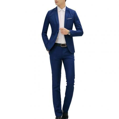 (Jacket+Pant) Luxury Men Wedding Suit Male Blazers Suits For Men Costume Business Formal Party Blue Classic red - Express Monde