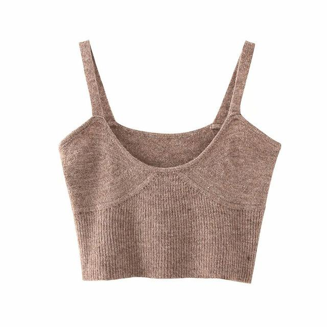 Aachoae 2020 Spring Fashion Knitted Sweater Vest Women Sexy Sleeveless Sweater Tunic Chic Spaghetti Strap Casual Solid Crop Top - EM