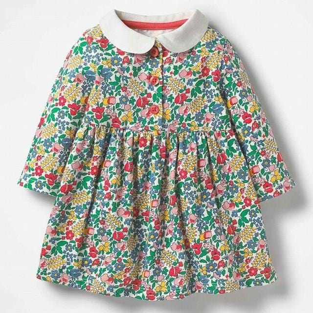 Little maven 2-7Years Baby Girl Fancy Dress For Autumn New Children's Girl's Long Sleeve Floral Print Beautiful Princess Dress