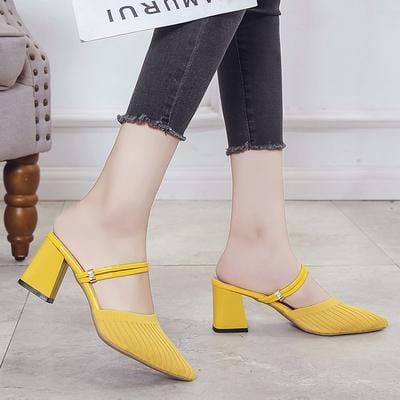 2020 Summer Sandals Dress Party Shoes Knitted Upper High Heel Slipper Women's Mules Ladies Pointed Toe Chunky Heel black yellow - EM