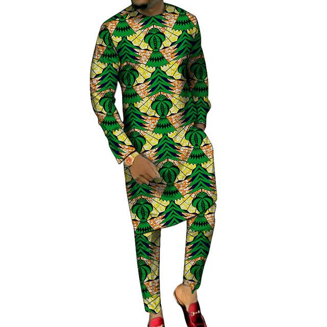 Dashiki print long shirts with trousers custom made pant sets Fashion male groom suits plus size African party clothes - EM