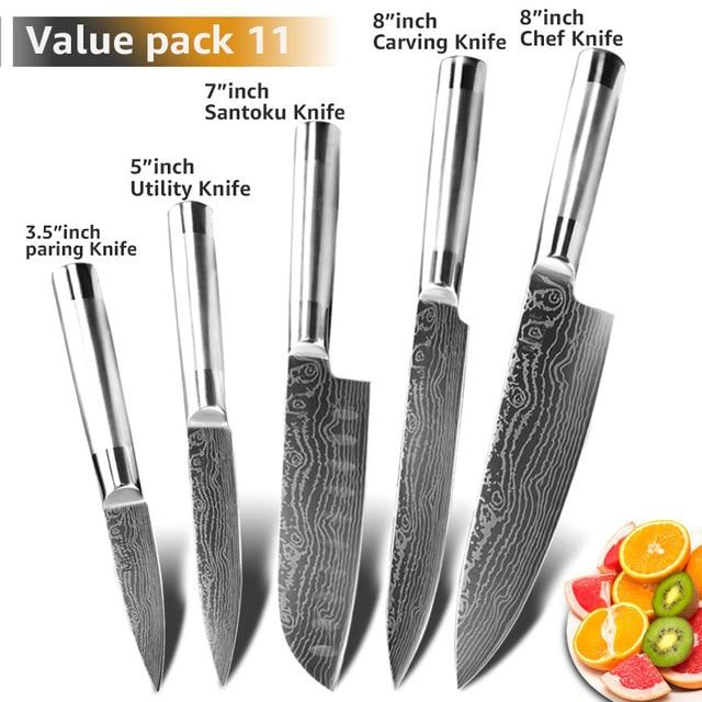 Chef Knives Kitchen knives  Japanese 7CR17 440C High Carbon Stainless Steel Fruit Utility Santoku Chef Slicing Bread Knife - EM