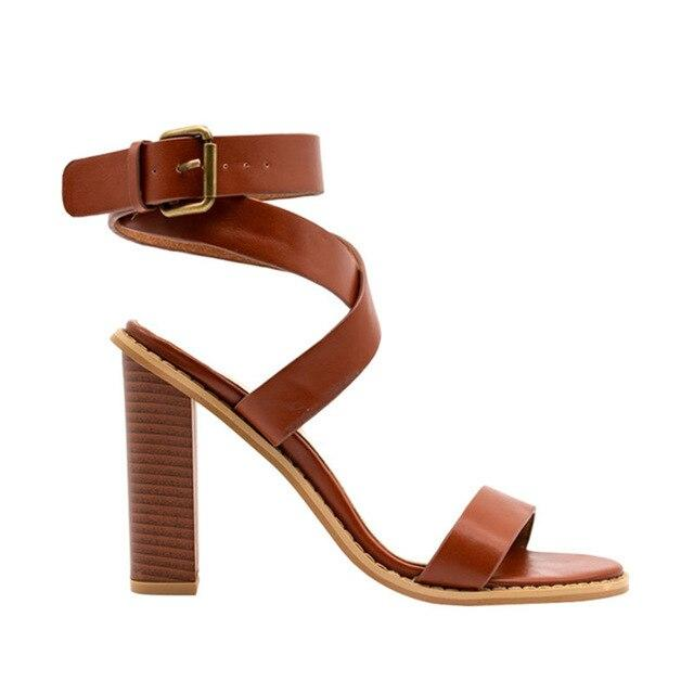 Women Retro Buckle Strap Sandal Shoes PU Women Square Heels Sandals Casual Gladiator Shoes High Heels Footwear - EM