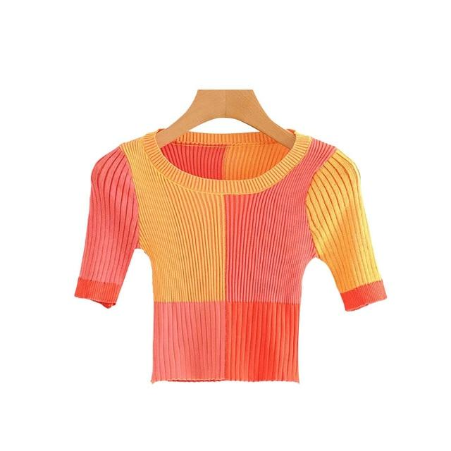 KPYTOMOA Women 2020 Sweet Fashion Color Plaid Cropped Knitted Sweater Vintage O Neck Short Sleeve Female Pullovers Chic Tops - EM