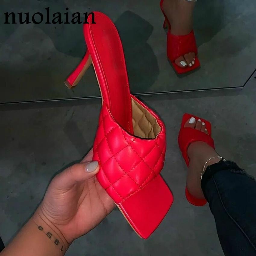 2020 Womens Summer Pump Shoes Red Leather High Heels Slipper Sandal Shoe Woman Square Toe Party Sandals Lady High Heel Shoes 9CM - EM