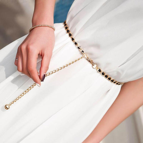 Fashion Elegant Ladies Pearl Waist Chain Metal Chain Belt Wild Thin Waistband Women Dress Decoration Belts Bohemian Slim Belt