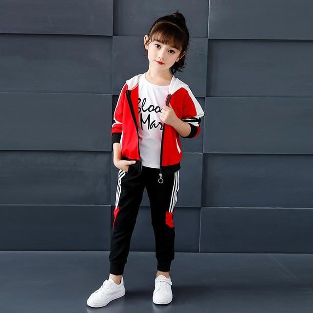 Kids Girls Sports Suit 2019 New Autumn Children's Hooded Long-sleeved Jacket + Trousers Two-piece Casual Student Clothing Suit
