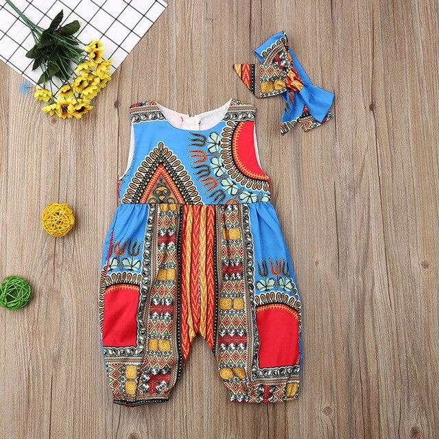 Summer African Dresses Kids Fashion Print Romper Baby Girls Dashiki Bazin Bohemian Jumpsuit Children Riche Ankara Africa Clothes - EM