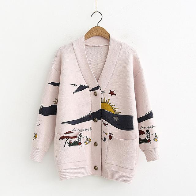 Autumn White Cotton Knitted Cardigan Sweater Women Coat 2020 Print V-neck Pockets Female Jumpers Casaul Buttons Women Tops - EM