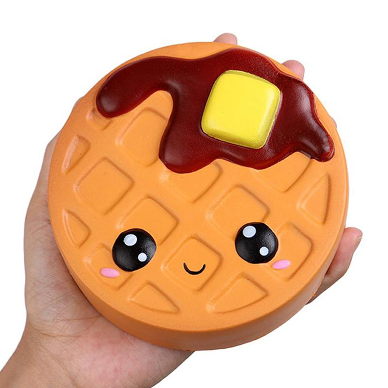Jumbo Cheese Chocolate Biscuits Cute Squishy Slow Rising Soft Squeeze Toy Phone Strap Scented Relieve Stress Funny Kid Xmas Gift - EM