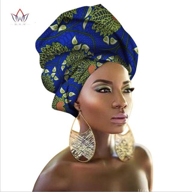 African Wax Fabric Turban Headwrap Ankara Bonnets Hair Accessories Bandanas Head LadyHijab Scarf Hat Long Tail Cap South Africa - EM