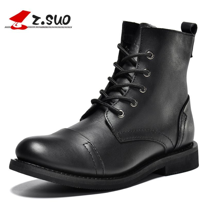 Z.Suo men's boots. Leather mens  boots, brand fashion winter high-quality boots man, erkek BOT ZSGTY16056