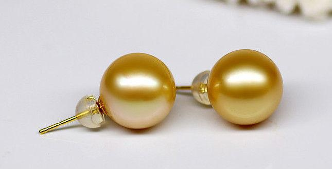 a pair 10.5-11.5mm AAA south sea round gold pearl stud earrings18/  k